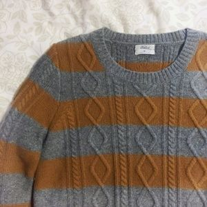 Madewell Striped Knit Gray Burnt Orange Sweater